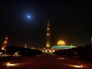 mosque in night pic