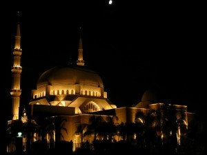 Haj Bahaa Mosque in Lebanon (night)