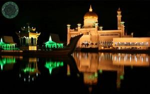 Omar Ali Saifuddin Mosque night view